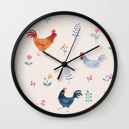 Little Hens (ivory) Wall Clock