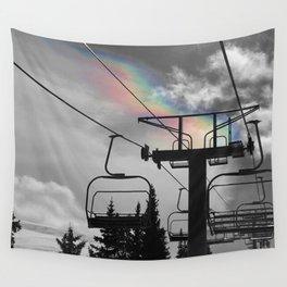 4 Seat Chair Lift Rainbow Sky B&W Wall Tapestry