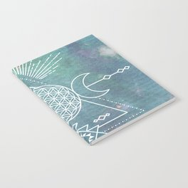 Mandala Flower of Life in Turquoise Stars Notebook