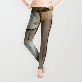 Portrait of a burlesque girl with fruits brown painting by Ksavera Leggings