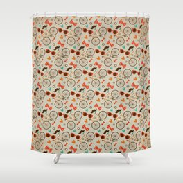Colorful Hipster Elements Pattern on beige Shower Curtain