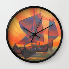 Red Sails in the Sunset Cubist Junk Abstract Wall Clock