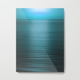 Sunset on the Water-Blue Metal Print