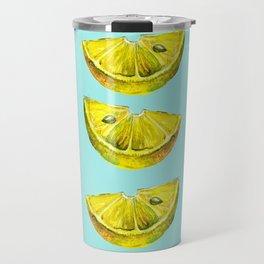 Lemon Slices Turquoise Travel Mug