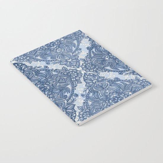 Denim Blue Lace Pencil Doodle Notebook