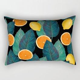 Lemons And Oranges On Black Rectangular Pillow
