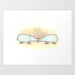 Hippo Love Art Print
