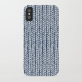 Knit Wave Navy iPhone Case