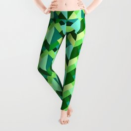 Modern Abstract Triangles, Emerald Green and Aqua Leggings