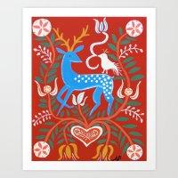 Folk Deer Painting Art Print
