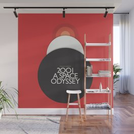 2001 A Space Odyssey - Stanley Kubrick minimalist movie poster, Red Version, fantasy film Wall Mural
