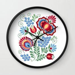 Moravian Folk Design Red Wall Clock