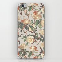 bedding iPhone & iPod Skins featuring Soft Vintage Rose Pattern by micklyn