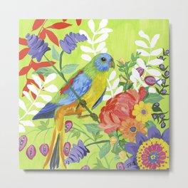 Jungle Parakeet Metal Print