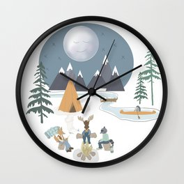 Camp Sleepy Moon (Large Print) Wall Clock