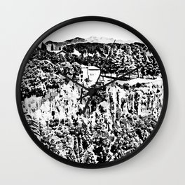 Landcsape with rock and church of Castel Sant'Elia Wall Clock