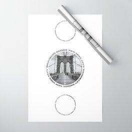 Brooklyn Bridge New York City (black & white triple badge style) Wrapping Paper