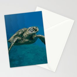 Sea Turtle Ocean blue Water Stationery Cards