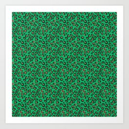 Greenery Green and Beige Leopard Spotted Animal Print Pattern Art Print