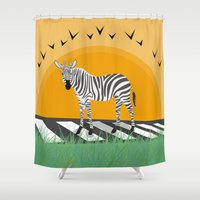 zebra Shower Curtains featuring Zebra by Nir P