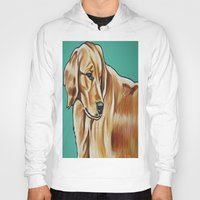 golden retriever Hoodies featuring Golden Retriever Painting by Cheney Beshara