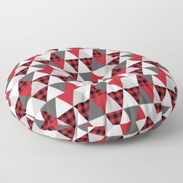 Quilt pattern buffalo check pattern red black and white with grey minimal camping Floor Pillow