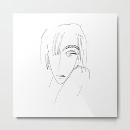 Sad Woman Face Metal Print