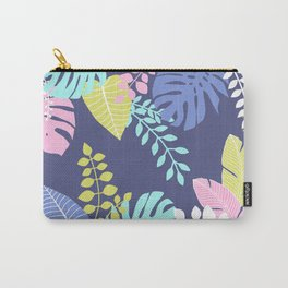 Bold Pastel Jungle Floral Carry-All Pouch