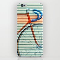 striped iPhone & iPod Skins featuring Standard Striped Bike by Fernando Vieira