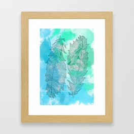 Feathers on Watercolor Framed Art Print