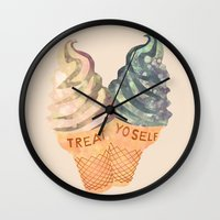 treat yo self Wall Clocks featuring Treat Yo' Self by Kanika Mathur Design