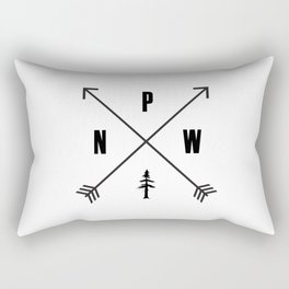 PNW Pacific Northwest Compass - Black on White Minimal Rectangular Pillow