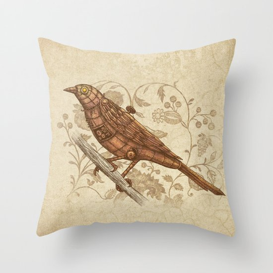 Steampunk Songbird  Throw Pillow