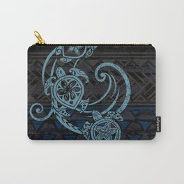 Hawaiian Teal Tribal Turtles Carry-All Pouch