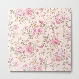 Shabby chic pastel pink roses Metal Print