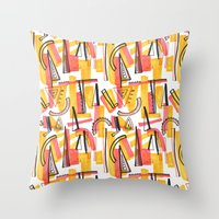 friday Throw Pillows featuring Friday by The Patternbase
