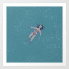 Girl Floating in the Ocean Art Print