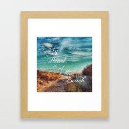 My Heart is at the Beach Framed Art Print