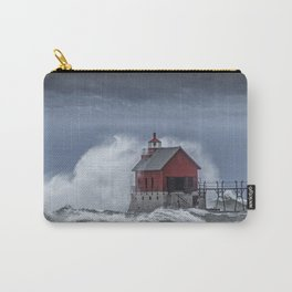 Grand Haven Lighthouse in a November Storm on Lake Michigan Carry-All Pouch