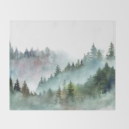 Watercolor Pine Forest Mountains in the Fog Throw Blanket
