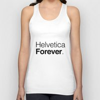 helvetica Tank Tops featuring helvetica by muffa