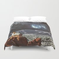 "alone Duvet Covers featuring ""Alone"" by TRASH RIOT"
