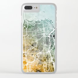 San Francisco City Street Map Clear iPhone Case