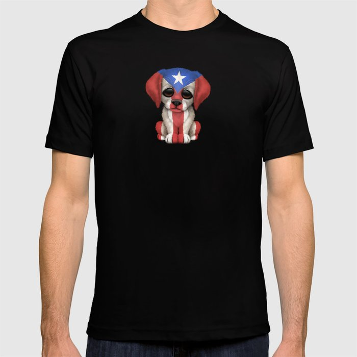 Cute Puppy Dog with flag of Puerto Rico T-shirt