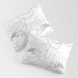 Minimal Line Art Flowers Pillow Sham
