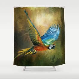 A Flash of Macaw Shower Curtain