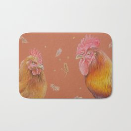ROOSTER and HEN Farm animals Domestic birds illustration Bath Mat