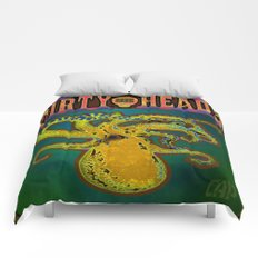Dirty Heads Psychedelic Octopus #4 Colorful Trippy Vibrant Character Design Comforters