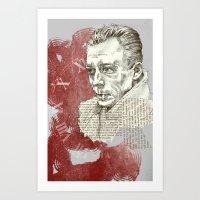 camus Art Prints featuring Camus - The Stranger by Nina Palumbo Illustration