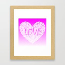 Pink Ombre Love in White Confetti Heart Framed Art Print